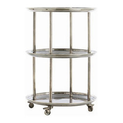 Arteriors Home - Arteriors Home DuBois Bar Cart - Arteriors Home 6082 - If you don't have a staff to serve and clear never fear. You can have this sturdy but glamorous bar cart. Sturdy because it is solid brass with locking industrial wheels. Glamorous because of the vintage silver overlay and silver shelves, which look like antique platters. It's like having extra sets of hands.