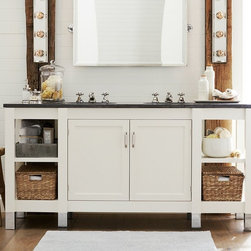 Napa Double Sink Console With Limestone - Built with a versatile mix of open and closed storage, this generous console is a design standout. It features a velvety smooth limestone top, and a base that's ideal for storing towels and providing quick access to essentials.