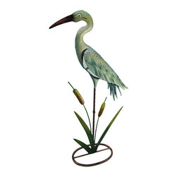 Zeckos - Colorful Heron Statue w/Colored Glass Insert Metal Sculpture - Standing amongst the cattails, this colorful heron promises not to take flight, instead will proudly take up residence in your home, garden or shop Crafted from metal, this fun sculpture is hand-painted with enamel paints in tranquil hues sure to delight and features a colored glass insert body. Measuring 26.5 inches (67 cm) high, 13.5 inches (34 cm) long and 6 inches (15 cm) wide, this metal heron statue will accent your entryway, the windowsill at the office or your bed of blooms. Wherever you choose to display it, this heron sculpture is sure to receive rave reviews