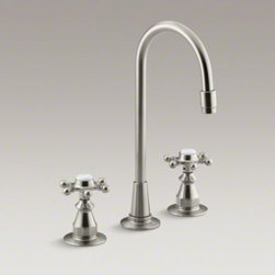 KOHLER - KOHLER Antique three-hole bar sink faucet with 6-prong handles - The perfect finishing touch for traditional decor, this Antique bar sink faucet brings nostalgic charm to your entertainment area or kitchen. Two six-prong handles complete the look, while allowing you to control hot and cold water separately for your ide