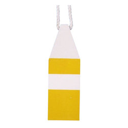 "Handcrafted Model Ships - Wooden Yellow Chesapeake Bay Crab Trap Buoy 8"" - Wooden Decorative Float - Classically themed and delightfully decorative, our Wooden Yellow Chesapeake Bay Crab Trap Buoy 8"" is the perfect addition for your beach themed room. This squared yellow buoy with white tip hangs easily from your wall to accent your home or collection. Traditionally lobstermen would hand paint their own unique buoy to distinguish theirs amongst the many lobster trap buoys at sea. In upholding the spirit of the lobster buoy tradition, we offer a new or rustic finish, sizes of 7"", 8"", 15"" and 20"" and finally a range of colors such as: dark blue, orange, red, dark red, green, dark green, light blue, and yellow."