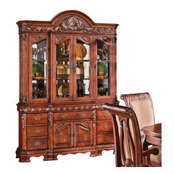 """Steve Silver Furniture - Steve Silver Harmony Buffet w/ Hutch in Cherry - Intricate Georgian-style carvings give the Harmony dining collection an antique feel, adding warmth and formality to any dining area. The Cherry finished buffet and hutch (sold individually) are a perfect pairing. The buffet has seven drawers and two cabinets for storing linens and tableware. On its own it adds extra serving surface to your dining area.  Add the magnificent hutch to display china and other fine pieces in the glass-enclosed cabinets.  Overall measurements are 58""""W x 19""""D x 87""""H."""