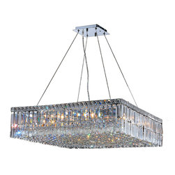 """Worldwide Lighting - Cascade 12 Light Chrome Finish and Clear Crystal 28"""" Square Chandelier Large - This stunning 12-light Crystal Chandelier only uses the best quality material and workmanship ensuring a beautiful heirloom quality piece. Featuring a radiant chrome finish and finely cut premium grade clear crystals with a lead content of 30%, this elegant chandelier will give any room sparkle and glamour. Dual-mount option for flush or suspension. Worldwide Lighting Corporation is a privately owned manufacturer of high quality crystal chandeliers, pendants, surface mounts, sconces and custom decorative lighting products for the residential, hospitality and commercial building markets. Our high quality crystals meet all standards of perfection, possessing lead oxide of 30% that is above industry standards and can be seen in prestigious homes, hotels, restaurants, casinos, and churches across the country. Our mission is to enhance your lighting needs with exceptional quality fixtures at a reasonable price."""