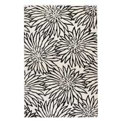 Surya Rugs - Goa White / Black Contemporary Rug - G244-58 - Construction: Handmade