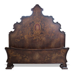 Beds - A bed that is beautifully hand crafted with an ornate hand painted floral scroll with medallion design. The bold colors, ornate headboard, and symmetrical design are sure to bring more emphasis to your bed, which is the focal point in your master bedroom.