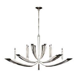 Fine Art Lamps - Fine Art Lamps 797440ST Vol de Cristal Silver 6 Light Chandelier - 6 Bulbs, Bulb Type: 60 Watt Candelabra; Weight: 58lbs