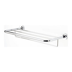 Geesa - 24 Inch Chrome Towel Rack or Towel Shelf with Towel Bar - Contemporary style wall hung towel rack with towel bar. Shower wall towel shelf and bar made out of brass in a polished chrome finish. Bathroom wall shower rack easily mounts with screws. Made in the Netherlands by Geesa. Towel shelf and towel bar. Simple yet beautiful. Made out of brass. Polished chrome finish. Easy to mount with screws. From the Geesa Luna Collection.