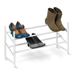 2-Tier Expandable  Shoe Rack, White - Honey-Can-Do SHO-01167 2-Tier Expandable Stackable Shoe Rack, White.  Customize your shoe storage with this versatile 2-tier shoe rack. Perfect for families and couples, this rack neatly displays shoes of nearly any size.  Simply lock the bars into either of two positions for large or small sizes. As your shoe collection grows, the rack expands from 24 inches to 44 inches wide. Plus, the stackable design means you can add multiple racks for even more storage. Constructed of white, powder-coated steel, the frame is rust-resistant and coordinates nicely with any decor. Some assembly required.