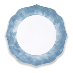 Q Squared NYC - Sanibel Scalloped Blue Dinner Plate Set/6 - Disappear to the Sandy Beaches of Sanibel Island with pretty pastels and paisley prints.