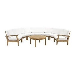 """LexMod - Marina 8 Piece Outdoor Patio Teak Sofa Set in Natural White - Marina 8 Piece Outdoor Patio Teak Sofa Set in Natural White - Harbor your greatest expectations with this luxurious solid teak wood outdoor set. Marina has a seating arrangement perfect for every member of your crew as you breathe the fresh crisp air of a day spent with friends and family. Known for its natural ability to withstand extreme weather conditions, teak is the wood selection of choice for long-lasting outdoor furnishings. Now you can enjoy Marinas durable construction and all-weather cushions, alongside a modern design that persistently looks new and welcoming. Zoom in on the product image before you, and see the exquisite texture and detail for yourself. Set Includes: One - Marina Teak Left-Arm Sofa One - Marina Teak Right-Arm Sofa One - Marina Teak Round Coffee Table Three - Marina Teak Rounder Corner Sofa Two - Marina Teak Middle Sofa Solid teak wood construction, Richly textured wood graining, Water & UV Resistant Cushions, Machine Washable Covers Overall Rounded Corner Sofa Dimensions: 53""""L x 32.5""""W x 31.5""""H Overall Left-Arm Sofa Dimensions: 30.5""""L x 32.5""""W x 31.5""""H Overall Right-Arm Sofa Dimensions: 30.5""""L x 32.5""""W x 31.5""""H Overall Middle Sofa Dimensions: 25""""L x 32.5""""W x 31.5""""H Overall Coffee Table Dimensions: 40""""L x 40""""W x 19""""H Round Corner Seat Dimensions: 50.5""""L x 23""""W x 12""""H Floor to underside of table: 15.5""""H Table top thickness: .5""""H Overall Product Dimensions: 70""""L x 110""""W x 31.5""""H - Mid Century Modern Furniture."""