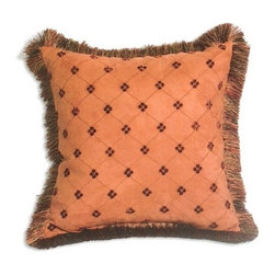 "Canaan - Emani Suede Salmon Diamond Pattern Print 20"" x 20"" Throw Pillow - Emani suede salmon diamond pattern print 20"" x 20"" throw pillow with brush fringe trim. Measures 20"" x 20"" made with a blown in foam. These are custom made in the U.S.A and take 4-6 weeks lead time for production."