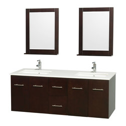 "Wyndham Collection - Centra 60"" Espresso Double Vanity, White Man-Made Stone Top, Drop-In Square Sink - Simplicity and elegance combine in the perfect lines of the Centra vanity by the Wyndham Collection. If cutting-edge contemporary design is your style then the Centra vanity is for you - modern, chic and built to last a lifetime. Available with green glass, pure white man-made stone, ivory marble or white carrera marble counters, with stunning vessel or undermount sink(s) and matching mirror(s). Featuring soft close door hinges, drawer glides, and meticulously finished with brushed chrome hardware. The attention to detail on this beautiful vanity is second to none."