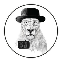 My Wonderful Walls - Mr. White Breaking Bad Lion Wall Sticker - Say My Name! by Balázs Solti, Large - - Product:  lion decal in fedora and glasses