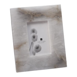 "Lazy Susan - Solid Slab Alabaster Frame - -Use 4""X 6"" Photo"