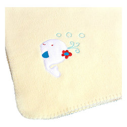 "Blancho Bedding - White Whale - Yellow Applique Coral Fleece Baby Throw Blanket  29.5""-39.4"" - The Embroidered Applique Coral Fleece Baby Kids Throw Blanket measures 29.5 by 39.4 inches. Whether you are adding the final touch to your bedroom or rec-room, these patterns will add a little whimsy to your decor. Machine wash and tumble dry for easy care. Will look and feel as good as new after multiple washings! This blanket adds a decorative touch to your decor at an exceptional value. Comfort, warmth and stylish designs. This throw blanket will make a fun additional to any room and are beautiful draped over a sofa, chair, bottom of your bed and handy to grab and snuggle up in when there is a chill in the air. They are the perfect gift for any occasion! Available in a choice of whimsical kid-friendly prints to spark the imagination, the blanket is durable enough to look great on the go."