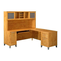 """Bush - 71 in. L-Desk & Hutch - Somerset - Anticipate the growth of your home business with this large L-shaped desk and hutch. The file drawer included in this formidable desk are capable of holding letter and legal size documents. Additional box drawers are big enough to hold writing utensils, paper, and other office supplies. A concealed CPU area maintains the stylish facade of the desk while providing maximum storage. DESK FEATURES: *File drawer for letter & legal-size files*Box drawer for  office supplies*Keyboard and pedestals may be mounted on the right or left side *Rear-wire hook up promotes easier accessibility*Hidden CPU storage area. *Overall Desk Dimensions: 29.134"""" H x 70.984"""" W x 70.984"""" D*CPU Compartment: 23.50 in x 12.75 in x 21.50 in.*Hutch: 35.984"""" H x 70.984"""" W x 12.480"""" D*Easy Assembly-phone support available*Manufacturers Warranty: 6 Years An attractively designed office furniture piece. Maple Cross finish. Promotes storage by including both a file drawer for storing letter. Legal-size files and a box drawer for organizing office supplies. Desk: 71 in. W x 71 in. D x 29.25 in. H. Hutch: 71 in. W x 13.75 in. D x 35.876 in. H. Overall: 71 in. W x 71 in. D x 65.125 in. H"""