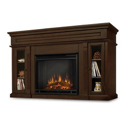 """Real Flame - Lannon Electric Fireplace in Espresso - The hidden LED display shows the settings as they are changed from either the control panel or the slim profile remote.  Features a programmable thermostat to provide precise heating in Celsius or Fahrenheit, timed shut off, dynamic embers.  Requires open. Solid wood and veneered MDF construction.. Includes: MDF mantel, firebox, and remote control. Shelf dimensions: 8"""" x 14"""". Programmable thermostat with display in Fahrenheit or Celsius. Ultra Bright LED technology with 5 brightness settings. Digital readout display with up to 9 hours timed shut off. Dynamic ember effect. 1400 Watt heater, rated over 4700 BTUs per hour. 50.75 in. W x 17.75 in. D x 34.25 in. H (138 lbs.)Enjoy the beauty of a Real Flame fireplace, this unique freestanding fireplace also doubles as an entertainment center. Features include a center panel that flips down to reveal a hidden compartment that houses media components and glass doors on each side open to reveal additional storage. The Vivid Flame Electric Firebox plugs into any standard outlet for convenient set up. The features include,remote control, programmable thermostat, timer function, brightness settings and ultra bright Vivid Flame LED technology."""