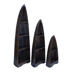 Benzara - Wooden Boat with Distinctive Design in Brown Finish - Set of 3 - If you want to add a distinctive touch to your room decor, then this set of three Wooden Boats makes for a brilliant addition to your home. Flaunting a simple but beautiful style, this set of wooden boats sports a unique design that makes it blend in with any surrounding. Just perfect for those with a love for arty, eccentric home accessories, this set is made from top quality wood that ensures a sturdy and long-lasting use. Originating in Indonesia, this wooden boat set features clean contours and minimal detailing, adding a chic touch to its overall appearance. Available in a deep brown color, this set is suitable for any kind of room settings. It is available in 3 size variants - 37 in.  H x 15 in.  W x 10 in.  D, 57 in.  H x 19 in.  W x 12 in.  D, 77 in.  H x 23 in.  W x 14 in.  D.