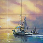 The Tile Mural Store (USA) - Tile Mural - Work On The Water - Gp - Kitchen Backsplash Ideas - This beautiful artwork by Nicky Boehme has been digitally reproduced for tiles and depicts a Clipper Ship sailing on the ocean.  Tile murals with ships and decorative ship tiles are timeless and are excellent to add to your kitchen backsplash tile project or your tub and shower surround bathroom tile project. Images of ships on tiles and pictures of sailboats on tiles add a unique element to your tiling project and are a great kitchen backsplash idea for a coastal home. Use a decorative tile mural of ships and boats for a wall tile project in any room in your home where you want to add interest to a plain field of wall tile. Bathrooms always look best with the addition of decorative wall tiles so why not add a tile mural with the image of a ship?