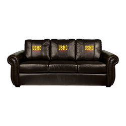 Dreamseat Inc. - US Marines Semper Fi Chesapeake Brown Leather Sofa - Check out this Awesome Sofa. It's the ultimate in traditional styled home leather furniture, and it's one of the coolest things we've ever seen. This is unbelievably comfortable - once you're in it, you won't want to get up. Features a zip-in-zip-out logo panel embroidered with 70,000 stitches. Converts from a solid color to custom-logo furniture in seconds - perfect for a shared or multi-purpose room. Root for several teams? Simply swap the panels out when the seasons change. This is a true statement piece that is perfect for your Man Cave, Game Room, basement or garage.
