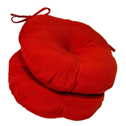 None - 15-inch Round Outdoor Salsa Bistro Chair Cushions (Set of 2) - Add a pop of color to your outdoor space with these red outdoor chair cushions. Made of soft polyester,theyre weather resistant and have UV protection,meaning that they can withstand the rigors of outdoor life while keeping your space beautiful.