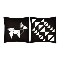 RoomCraft - RoomCraft 2pc Origami Pillow Covers/Cushion Set, Black, 16x16 Inches, Origami Fo - FEATURES: