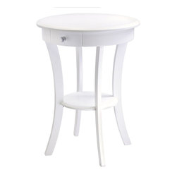 Winsome - Winsome Wood Sasha Round Accent Table with Drawer Curved Legs in White - Winsome - Accent Tables - 10727 - Elegantly simple end table. Though it may be suitable for many room configurations, it's smooth curves and ample storage make it far from a boring table. It features plenty of storage and solid beechwood construction as well, making it just as practical as it is stylish. Its curved, smooth design blends well with any style of room decor.