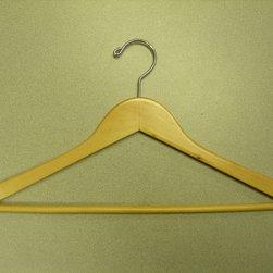 Proman Products - Genesis Flat Suit Hanger With Wooden Bar - Genesis flat suit hanger with wooden bar, natural, chrome hw, 4.5Lx1.2Tcm, 100 pcs/case