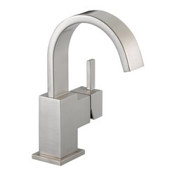 Delta Single Handle Centerset Lavatory Faucet - 553LF-SS - Inspired by slim lines and graceful arc of a ribbon, the Vero bath collection offers a high-end, modern look to the bath.