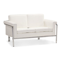 ZUO MODERN - Singular Loveseat White - With clean lines and sleek chrome, the Singular series is a sexy piece for your home. The Singular has a 100% chrome frame wrapped in a plush leatherette that comes in three colors: black, white and terracotta.