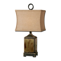 Uttermost - Porano Mossy Green Buffet Lamp - Distressed Porcelain Finished In A Mossy Green Glaze With Rust Undertones And Dark Bronze Metal Details. The Rectangle Modified Box Shade Is A Rusty Beige Linen Fabric. Number Of Lights: 1, Shade: Rectangle Modified Box Shade, Shade Size: Height: 9, Top: 8w X 12d, Bottom: 8w X 12d, Voltage: 110, Wattage: 100w, Bulbs Included: No