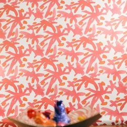 AphroChic Juju Wallpaper, Pink & Silver - I love the watercolor brushstrokes on this abstract wallpaper. It's soft and inviting and yet so modern and sweet.