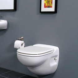 """Saniflo - Saniflo 012 Wall Hung Macerating Toilet White - This modern shaped self-contained china toilet emulates the European wall-hung toilets that are so popular as of late. The Sanistar is a self contained toilet with the macerator pump and an electrical activated flushing action built inside the unit. The Sanistar does not depend on gravity, therefore it can be used where large diameter pipe cannot be used.The Sanistar saves space and can be hung on any sturdy wall. It comes complete with a wall bracket system that can be placed against a wall or if you start from scratch-it can be built into the wall and mounted against 2"""" x 6"""" studs. The wall bracket has feet that can be adjusted to allow the Sanistar to be hung at a height that is comfortable for the user, for example between 15 and 18 inches."""