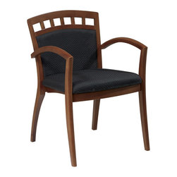 Office Star - OSP Furniture Mendocino MEN-94-CHY Leg Chair with Upholstered Back, Set of 4 - Wood guest seating coordinates with Mendocino case goods. Leg chair with upholstered seat and back. Satin cherry finish. Ships 4 per carton, frame fully assembled, seat cushion unmounted.