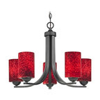Design Classics Lighting - Black Modern Chandelier with Red Art Glass Cylinder Shades - 584-07 GL1018C - Contemporary chandelier in matte black finish with five-lights and flame red cylinder art glass shades. Includes six feet of chain and seven feet of wire. Takes (5) 100-watt incandescent A19 bulb(s). Bulb(s) sold separately. UL listed. Dry location rated.