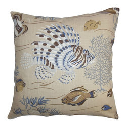 """The Pillow Collection - Niju Coastal Pillow Blue Brown - This sea-themed accent pillow depicts a lovely scene. The splash of neutral colors like brown, white and blue lends a summer-ready vibe to this throw pillow. Play with your decor pieces by pairing this 18"""" pillow with solids and other patterns. Constructed with 100% soft and durable cotton material, this square pillow ensures lasting comfort. Hidden zipper closure for easy cover removal.  Knife edge finish on all four sides.  Reversible pillow with the same fabric on the back side.  Spot cleaning suggested."""