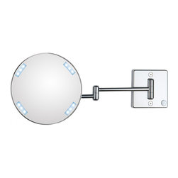 WS Bath Collections - Discololed 36-2 Lighted Magnifying Mirror 3x - Discololed 36-2 x3 by 9.1 Dia. x 18.1 Extension Magnifying Mirror, with LED Light, External Power Supply with Plug, in Chromed Plated Brass Structure and Frame in Chromed Plated Abs