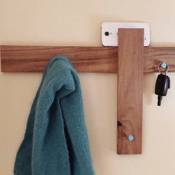 Coat Rack Key Rack Mail Organizer Modern Design by Mod-Rak - Coat rack, mid century modern design by Mod-Rak. Inspired by Danish furniture. It works great as a coat rack, key rack, clothing rack and even as a mail holder. Made of reclaimed walnut flooring.