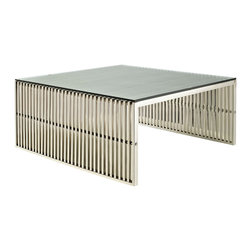 Modway Furniture - Modway Gridiron Coffee Table in Silver - Coffee Table in Silver belongs to Gridiron Collection by Modway Straight lines were once deemed the realm of strict logic. This conduit design accomplishes something quite profound. It blends linear components with a pleasantly stainless steel tubular effect. Modernism used to be about extremes. Wild shapes and patterns that don't dare resemble its predecessors. We've reached an age of maturity of sorts. We appreciate style, but all the more, we respect those designs that represent a blending of cultures. The Gridiron tubular stainless steel bench is famous not for its radical shape, but for the strategic transcendence that it provides. Gridiron is perfect for reception rooms, living and lounge areas, and any other place in need of transformation. Set Includes: One - Gridiron Stainless Steel Coffee Table with Tempered Glass Top Coffee Table (1)