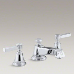 KOHLER - KOHLER Pinstripe(R) widespread bathroom sink faucet with lever handles - Featuring a design reminiscent of 1930s Art Deco, Pinstripe faucets and accessories bring vintage charm to your bathroom. This bath sink faucet embodies Pinstripe style with signature pinstripe detailing along the spout and ergonomic lever handles. The sp