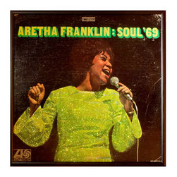 """Glittered Aretha Franklin Soul Album - Glittered record album. Album is framed in a black 12x12"""" square frame with front and back cover and clips holding the record in place on the back. Album covers are original vintage covers."""