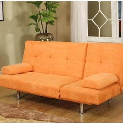 InRoom Designs Klik-Klak Convertible Sofa Bed – Orange - Orange you glad you found the InRoom Designs Klik-Klak Convertible Sofa Bed - Orange? Fun and funky the contemporary style and soft microfiber orange upholstery make this a statement piece for any space. Easily converts from a sofa to a bed and includes 2 throw pillows. The high quality chrome legs and metal frame are durable and stylish. About Inroom Furniture DesignsThough a young company established in 2008 Inroom Furniture Designs provides world class design marketing engineering and quality control. As an innovator in both youth bedroom and other home furnishings they are committed to bring fresh designs and craftsmanship. At Inroom Furniture Designs they pride themselves on paying close attention to product detail and quality features like full extension ball bearing drawer glides beautifully accented English drawer dovetailing maximum drawer size and engineering safety.