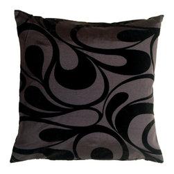 "Pillow Decor - Pillow Decor - Dramatic Swirls Gray 19"" Square Decorative Pillow - Dramatic Swirls Gray 19"" Square Decorative Pillow"