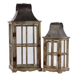 "Benzara - Traditional Wooden / Metal Lantern Set of Two - The Traditional Wooden / Metal Lantern Set of Two consists of two traditional themed vintage lanterns perfect for almost any occasion, whether it's a romantic candle light dinner for two while the kids are away or asleep, lighting up your patio or porch on those long summer nights, shedding some light on your lovely garden parties, or simply as an alternative source of light. This candle lantern is made of quality wood and metal and features a truly homely look and feel. The dimensions of the Traditional Wooden / Metal Lantern Set of Two are 12.5""x12.5""x29""H; 8.5""x8.5""x12""H. Metal; Khaki; 12.5""x12.5""x29""H; 8.5""x8.5""x12""H; Dimensions: 13""L x 13""W x 29""H"