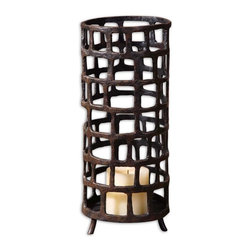 Uttermost - Uttermost Matthew Williams Candle Holder in Aged Black - Shown in picture: Distressed - Aged Black With Rust Brown Undertones. Hand forged metal finished in distressed - aged black with rust brown undertones. Beige candle included.