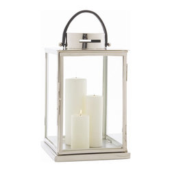 Arterior Homes - Angersteins Albany Lantern - The black leather handle makes this the perfect hurricane to carry from place to  place as needed. The generous size begs to be filled with an assortment of pillar candles. Beautiful outside on your patio table, or dressed up with holiday greens at your front door.