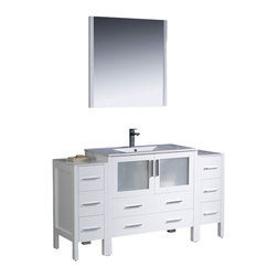 """Fresca - Torino 60"""" White Vanity w/ 2 Side Cabinets & Integrated S Cascata Chrome Faucet - Fresca is pleased to usher in a new age of customization with the introduction of its Torino line.  The frosted glass panels of the doors balance out the sleek and modern lines of Torino, making it fit perfectly in eithertown or country decor."""