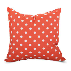 Majestic Home - Outdoor Orange Ikat Dot Large Pillow - Style and comfort are just as important in casual spaces as anywhere else, so you need a throw pillow that's made to take the slings and arrows of everyday life. This pillow's cute polka dot cover is treated to withstand the elements and removable for easy cleaning of spills and smudges. It'll add some color and cushiness to your family parties and still look fresh the morning after.