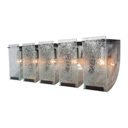 Varaluz - Rain Five-Light Bath Fixture with Seedy Glass - - This refreshingly simple fixture is reminiscent of the romantic feel of a cozy stormy day. Light filters through the rain glass diffusing the harsh glow and cooling the room completely with a clean contemporary look.  - Made with recycled steel and recycled hand-pressed seedy glass.  - Bulbs not included.   - Limited Lifetime Warranty Varaluz - 160B05