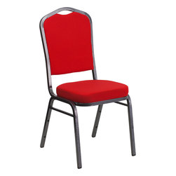 Flash Furniture - Flash Furniture Hercules Series Crown Back Stacking Banquet Chair - This is one tough chair that will withstand the rigors of time. With a frame that will hold in excess of 500 lbs., the Hercules Series banquet chair is one of the strongest banquet chairs on the market. You can make use of banquet chairs for many kinds of occasions. This banquet chair can be used in church, banquet Halls, Wedding Ceremonies, Training Rooms, Conference Meetings, Hotels, Conventions, Schools and any other gathering for practical seating arrangements. The banquet chair is also great for home usage from small to large gatherings. For any environment that you use a banquet chair it will put your guests at a greater comfort level with the padded seat and back. Another advantage is the stacking capability that allows you to move the chairs out of the way when not in use. With offerings of comfort and durability, you can be assured that you can enjoy this elegant stacking banquet chair for years to come. [FD-C01-SILVERVEIN-RED-GG]